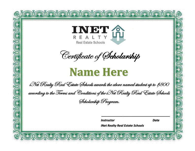 Scholarship-Certificate - Approved Real Estate Academy
